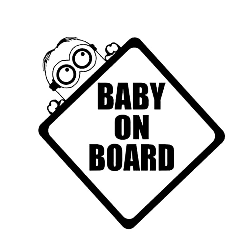 14CM*14CM Baby On Board Minion Bumper Sticker Window Car Stickers And Decals Motorcycle Car Styling Black/Sliver C8-0983
