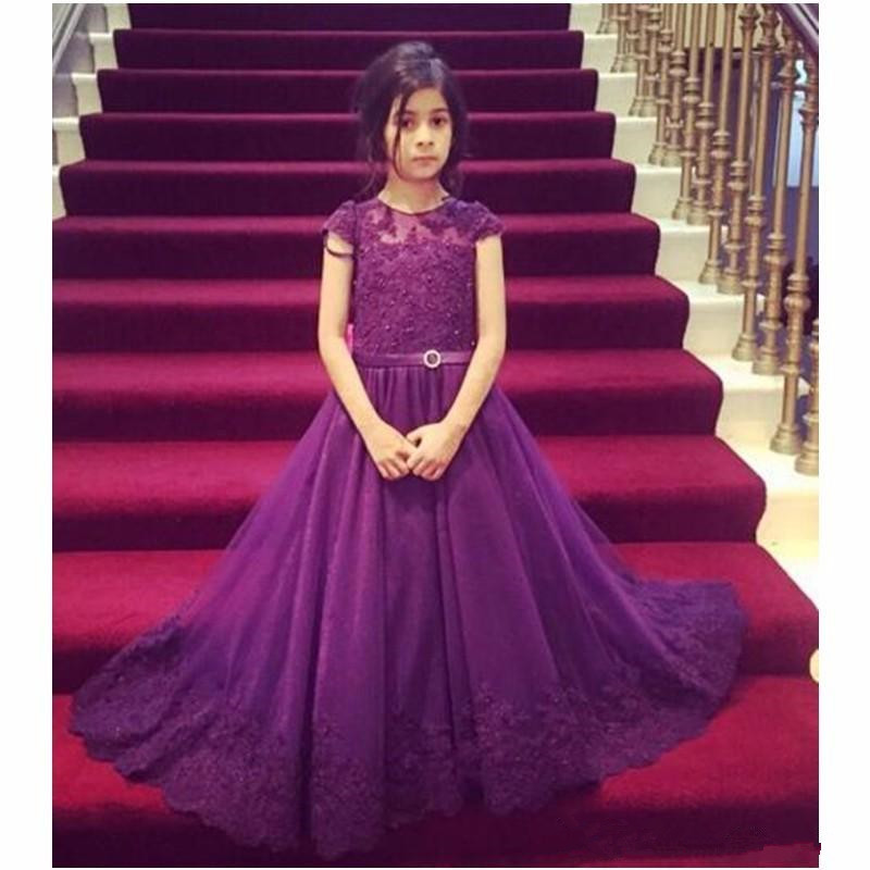 Newest Jewel Neck Purple Girls Pageant Dresses Beaded Appliques Button Back Vestidos De Desfile Kids Birthday Party Dresses hot newest fuchsia ball gown organza ruffles flower girl dresses kids pageant dresses vestidos de desfile kids party dresses