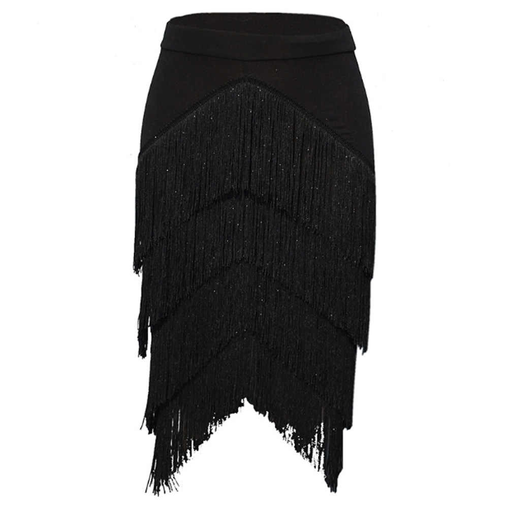 Black Tassel Skirt Women High Waist Sexy Stretch Slim Bodycon Pencil Fringe Asymmetrical Skirts Workwear Adult Lady Dance Skirts