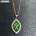 Natural Emerald Pendant Necklace Genuine 925 Sterling Silver Precious Stone Fine Jewelry Royal May Birthstone