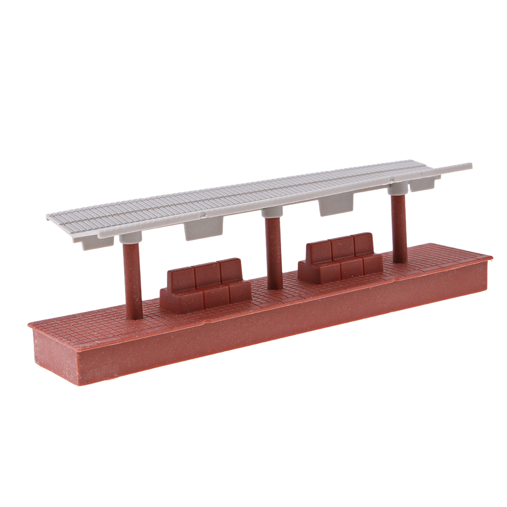 19.5x4x5.7cm Train Railway Station Shelter Model for Mini Scene Landscape Building Toy
