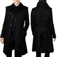 Mens trench coats man long coat men clothes slim fit Business casual single breasted overcoat long sleeve black blue fashion