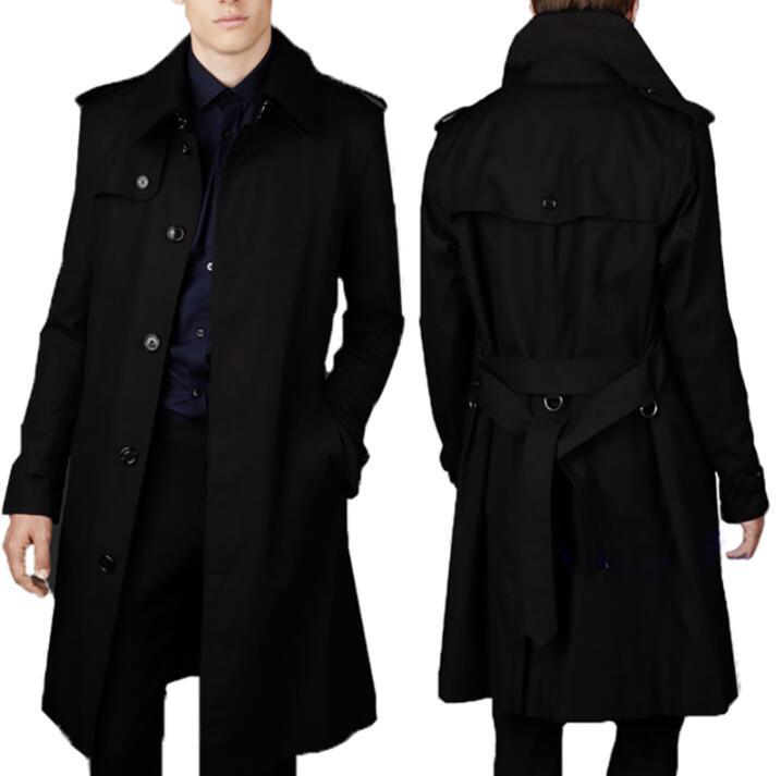 Hommes trench manteaux homme long manteau hommes vêtements slim fit Business casual single-breasted pardessus à manches longues noir bleu mode