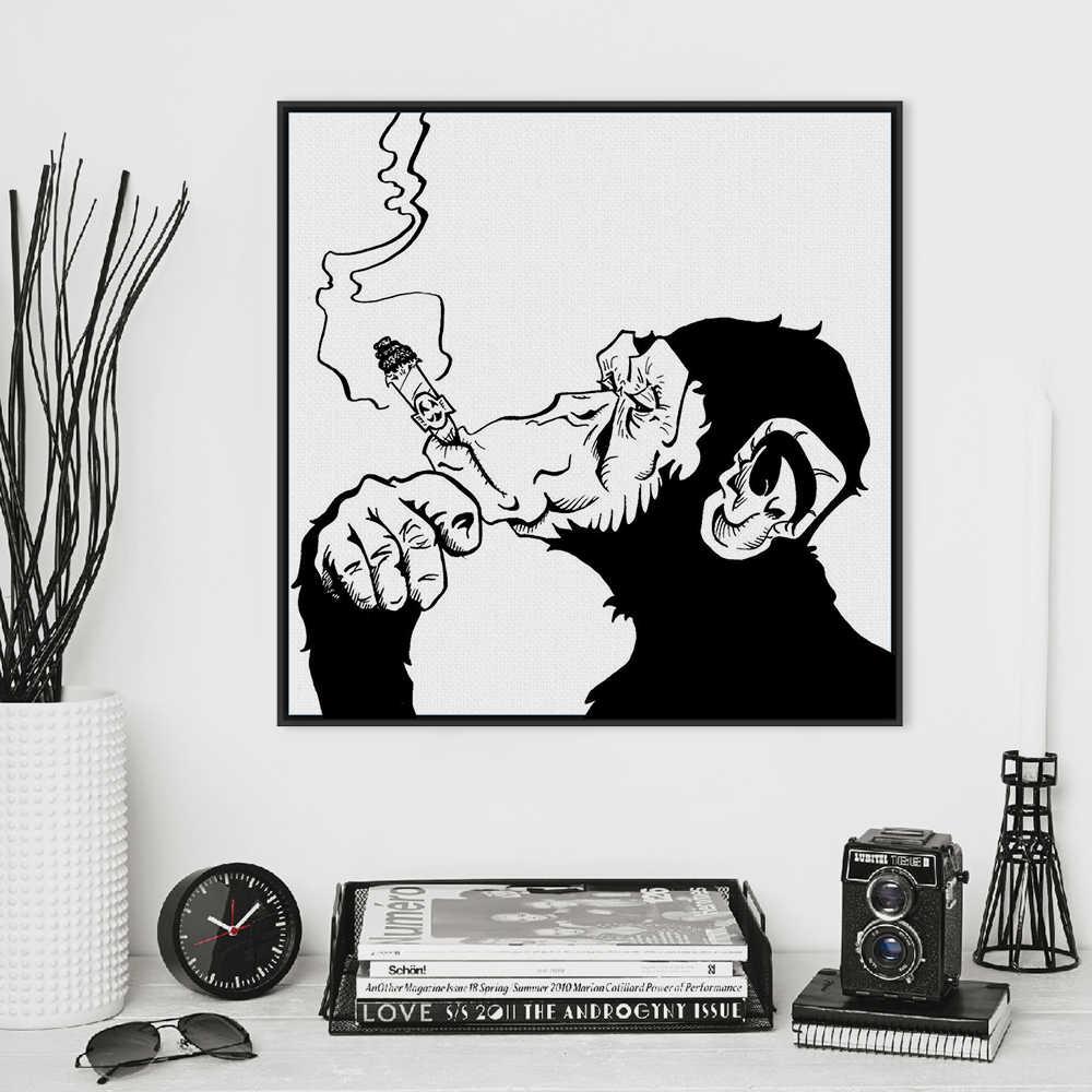 Fashion Black White Smoking Gorilla Animal Art Prints Poster