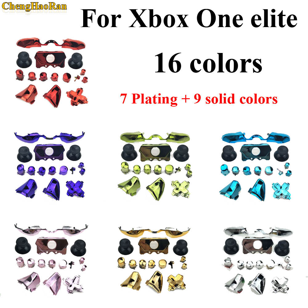Solid Bumper Triggers Buttons Replacement Plastic & Chrome Full Set D-pad LB RB LT RT ABXY Button For Xbox One Elite Controller