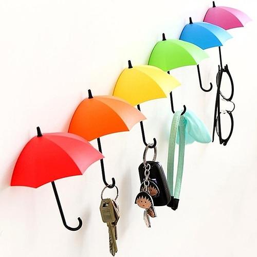 3pcs Cute Colorful Umbrella Wall Hook Hair Pin Key Holder