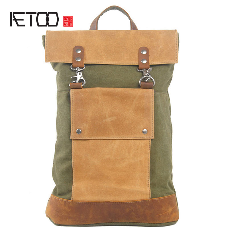 AETOO Cloth bag New Japanese retro backpack Canvas with suede leather backpack Men's bag ботинки airbox airbox mp002xm0vt9l