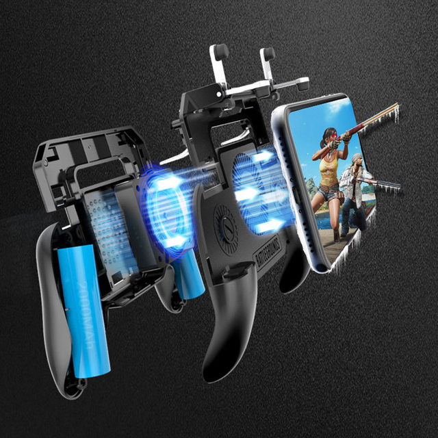 Game Pad Mobile Phone Cooler Cooling Fan Gamepad Holder Stand 2000 mAh Power Bank Radiator Mute Fan for 4-6.5 inch Smartphone