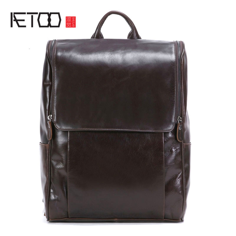 AETOO First layer leather shoulder bag leather backpack British wind computer bag leather travel bag handmade leather men's back aetoo spring and summer new leather handmade handmade first layer of planted tanned leather retro bag backpack bag