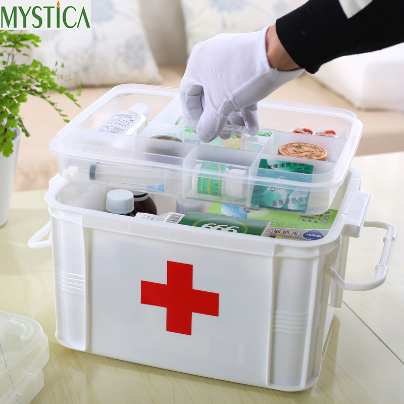 1PCS többrétegű nagycsalád első segédeszköz doboz Gyógyszer orvosi tároló doboz Orvosi műanyag droggyűjtő szervező dobozok