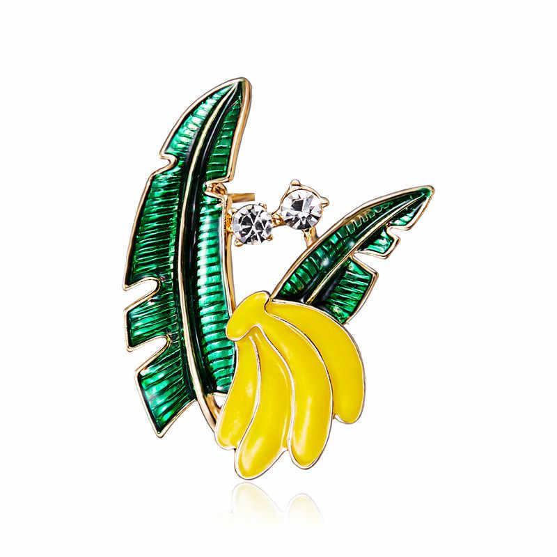 Buah Apple Pisang Mutiara Jamur Pine Apple Wanita Gaya Pesta Hadiah Pin Bros Perhiasan Pengantin Pernikahan