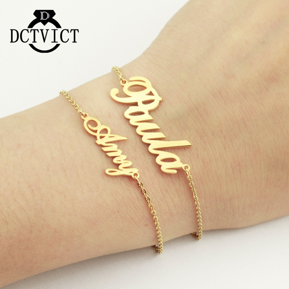 Delicate Birthday Gifts Personalized Custom Name Bracelet Gold Chains Bracelet Women Stainless Steel Brazaletes Pulseras Mujer браслет на ногу pulseras tobillo bisuteria mujer tobilleras diy anklet