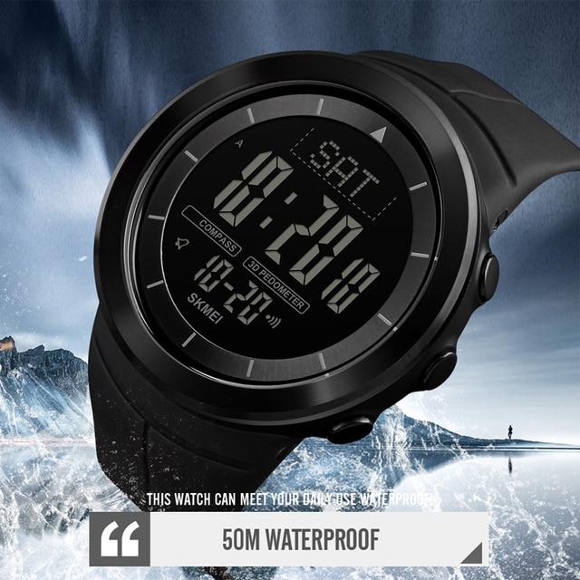 Мужские цифровые часы, водонепроницаемые часы с компасом, калорий, секундомером, спортивные наручные часы, модный мужской браслет, топ бренд, часы SKMEI