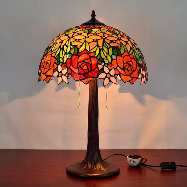 Online Shop 16 Inch Rose Flowers Tiffany Table Lamp Country Style