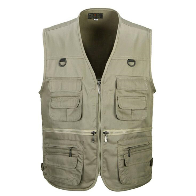 Men Cotton Multi Pocket Vest Summer New Male Casual zipper Thin Sleeveless Jacket With Many Pockets Mens Photographer Waistcoat
