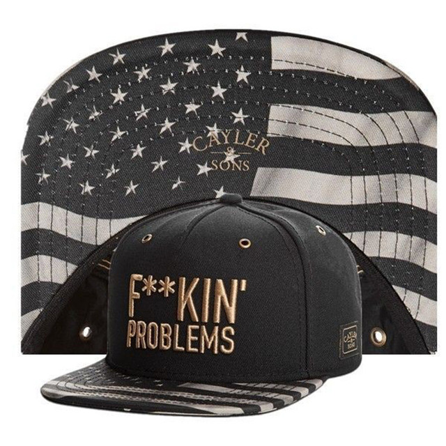 517e03fe90a Fuckin problems black gold Cayler Sons snapback hats for men women starter  summer style sports baseball caps bone hip hop cap