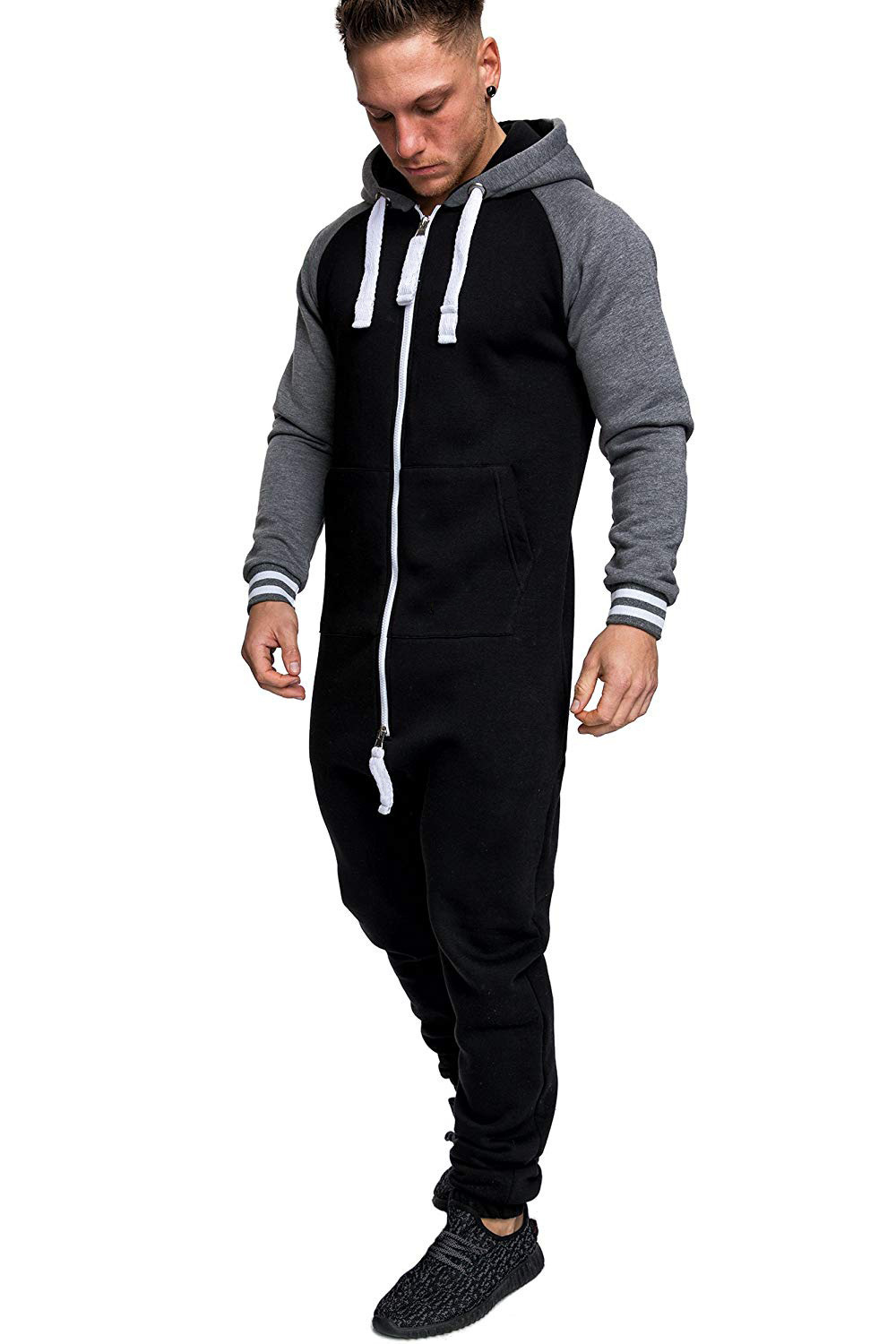 Casual Autumn Hooded Tracksuit Jumpsuit Long Pants Romper For Male Mens Fleece warm Overalls Sweatshirts Male Streetwear X9126 20