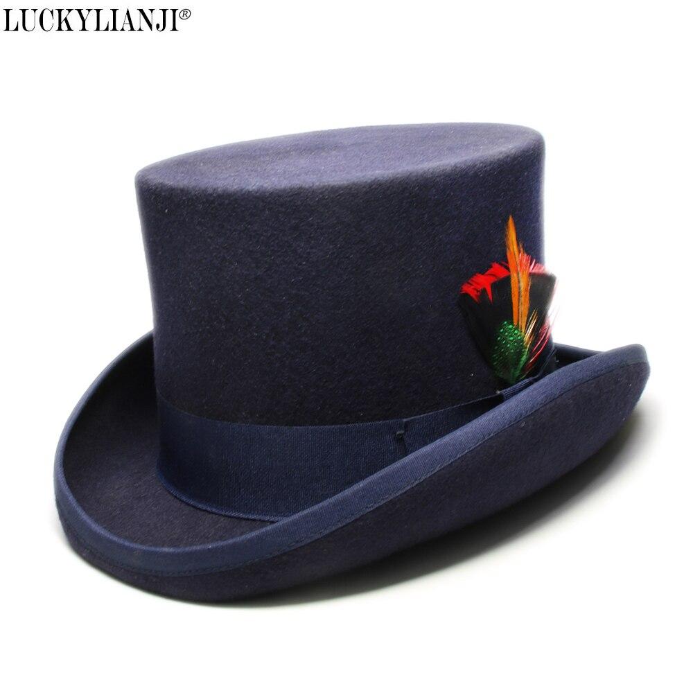 Lucky ylianji femmes hommes haut rond plat haut montagne poulet plumes laine feutre magicien président Lincoln Gentleman Bowler chapeau