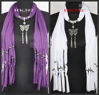 Free 2013 New Necklace Scarf Butterfly Pendant Tassel Jewelry Necklaces Jewellery Scarf FREE