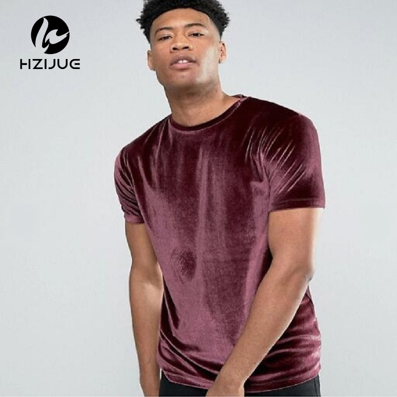 HZIJUE 2018 men short sleeve velour t shirt Famous stars style t-shirt men