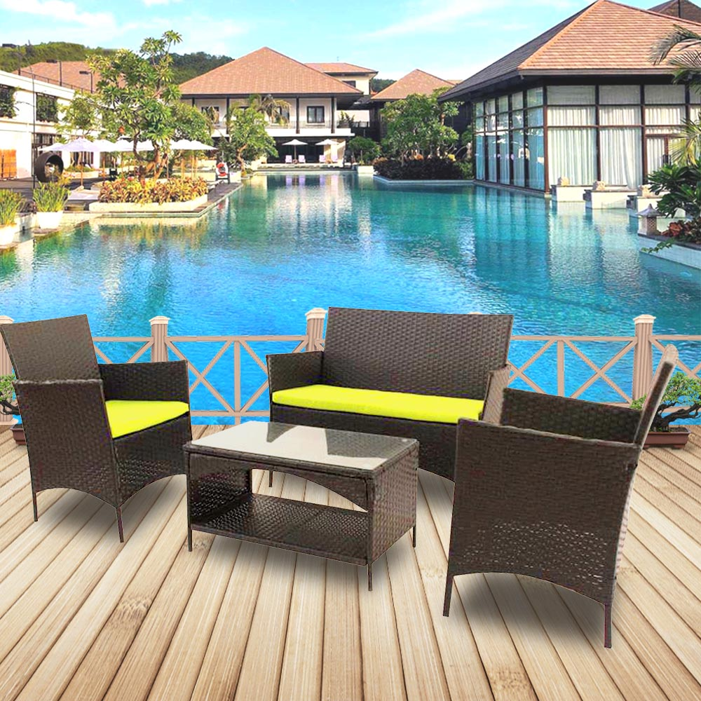 4pcs Patio Outdoor Rattan Furniture For Garden Backyard For Patio Balconies Apartment Terrace Breakfast Nooks