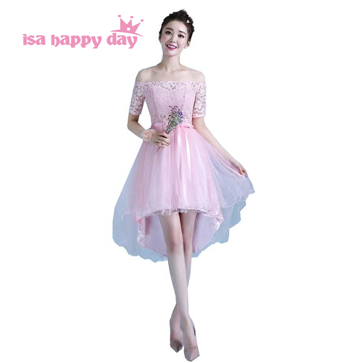 Detail Feedback Questions about sweet 16 short sleeve off shoulder high low  light pink fitted homecoming dresses teen dress styles 2019 gown for girls  H4297 ... d30f742bd323