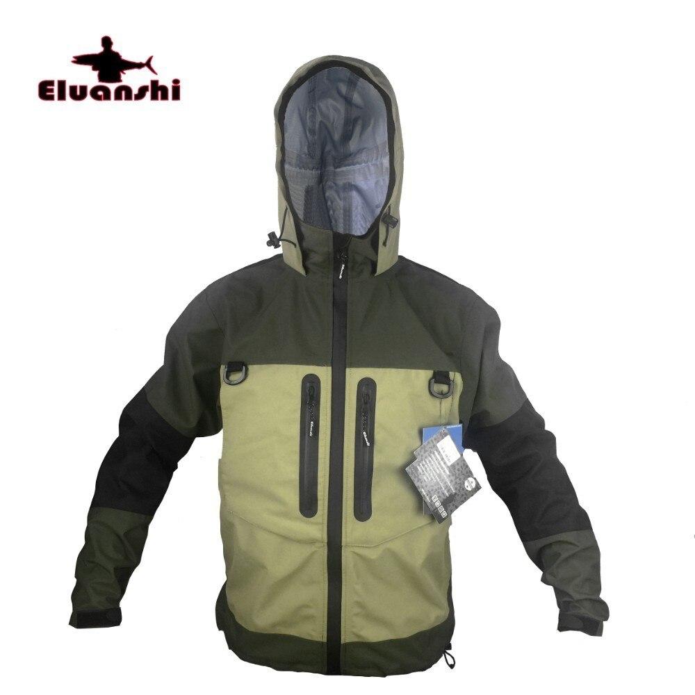 ELUANSHI Breathable Fly Fishing Jacket Waterproof Wading Huting Fishing Wader Jacket Clothes Fishing Outerwear