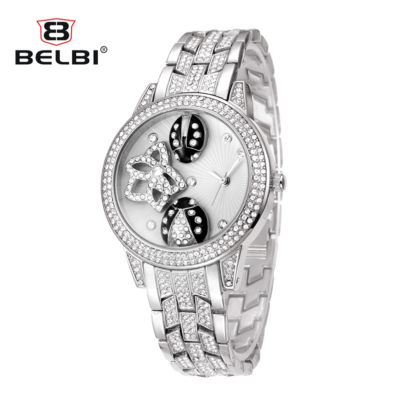 BELBI Watch 2018 Horloges Vrouwen Women Quartz Watches Rhinestone Stainless Steel Strap Bracelet Watches Horas цена 2017