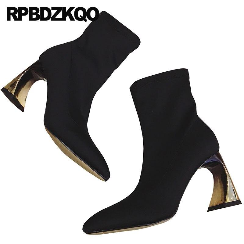 купить slip on sexy women pointed toe autumn black metal heel boots 2018 fall stretch strange shoes short celebrity ankle high chunky онлайн