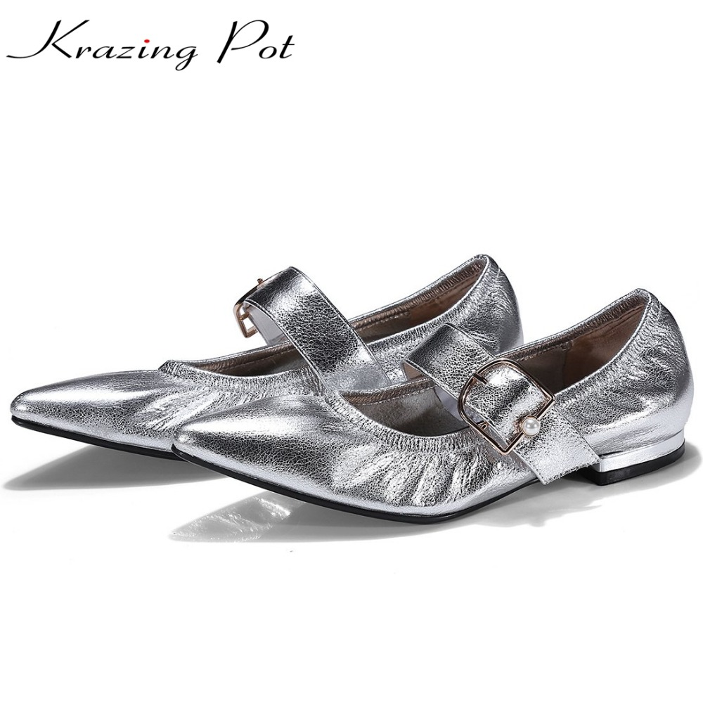 Krazing Pot full grain leather metal soft skin decoration pointed toe buckle straps casual flats young lady pregnant shoes L20 pu pointed toe flats with eyelet strap