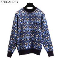 Runway Winter Knitted Sweater Women Long Sleeve Owl Jacquard Sweaters And Pullovers Ladies Designer Brand Jumper Sueter Mujer