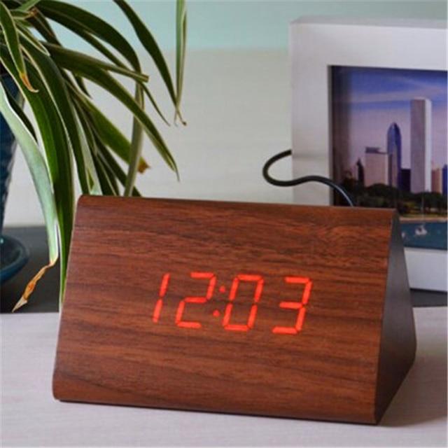 Toll Holz Holz Wecker, Tabelle LED Uhren Mit Thermometer Datum, Nachttisch  Desktop Elektronische Schlafzimmer Uhr