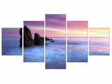 5 Pieces Free ShippingModern Wall Art Home Decoration Printed Oil Painting beautiful sunrise on the sea landscape Framed