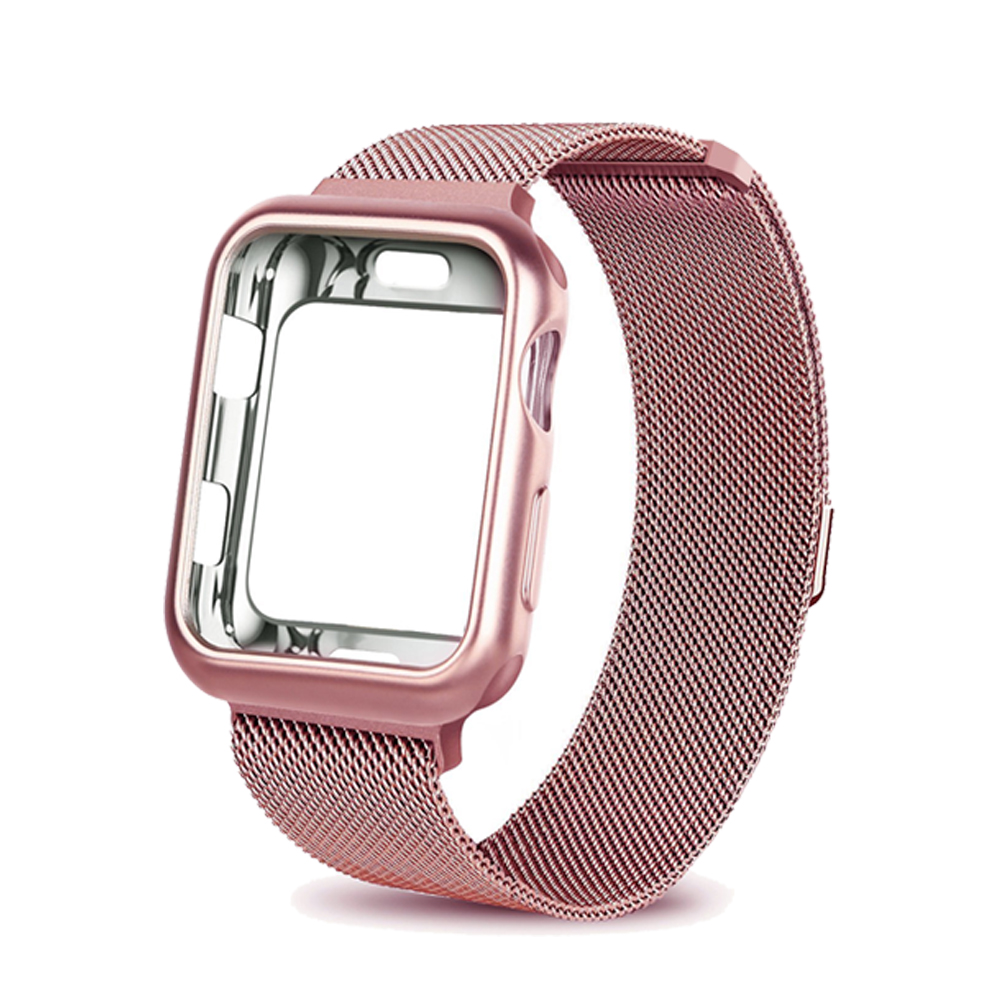 75ef380cd4 Case+watch Strap For Apple Watch 3 Iwatch Band 42mm 38mm Milanese Loop  Bracelet Stainless Steel Watchband For Apple Watch 4 3 21