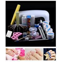9W Dryer Lamp UV Gel Kit Brush Buffer Guides Toe Seperator Glitter Powder Liquid Tools Nail Tips Glue DIY Kit wholesaler 1j20