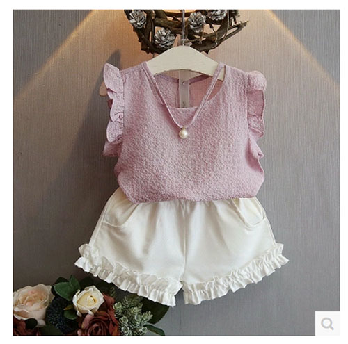 Girls Clothing Sets 2017 Summer Fashion Casual Pearl Sleeveless Chiffon Blouse + Shorts Suits Kids Clothes 2T 3T 4T 5T 6T 7T baby girls summer clothing girls july 4th anchored in god s word shorts clothes kids anchor clothing with accessories