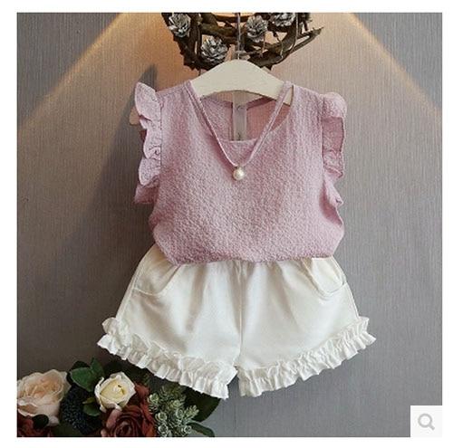Girls Clothing Sets 2017 Summer Fashion Casual Pearl Sleeveless Chiffon Blouse + Shorts Suits Kids Clothes