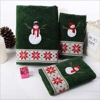 Verde 3 pçs/set 100% de veludo de algodão toalhas de banho de toalha dos desenhos animados do boneco de neve de natal bordado grosso absorvente festival de alimentação