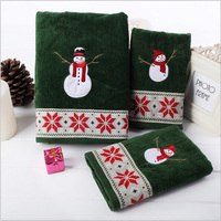 green 3 pcs/set 100% cotton velvet christmas towel cartoon snowman embroidered bath hand towels thick absorbent festival supply