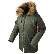 2019 Winter N3B puffer jacket men long canada coat military fur hood warm trench