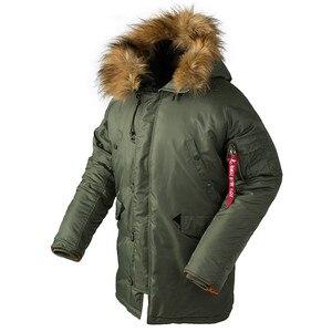 Image 1 - 2020 חורף N3B המשאף מעיל גברים ארוך קנדה מעיל צבאי פרווה הוד חם תעלת הסוואה טקטי מפציץ צבא קוריאני parka