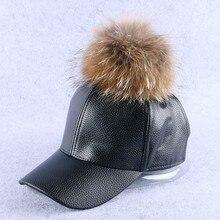 mink and fox fur ball winter hat for women pu leather pompom luxury baseball cap for girl brand warmer female snapback hats