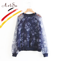 ArtSu Europe Floral Chiffon Blouse Women S Shirt Spring Autumn Long Sleeve Casual Female Top Bts
