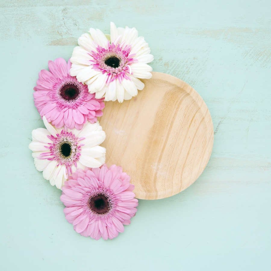 Laeacco Blue Wooden Board Blooming Flowers Plate Baby Photography Backgrounds Customized Photographic Backdrops For Photo Studio