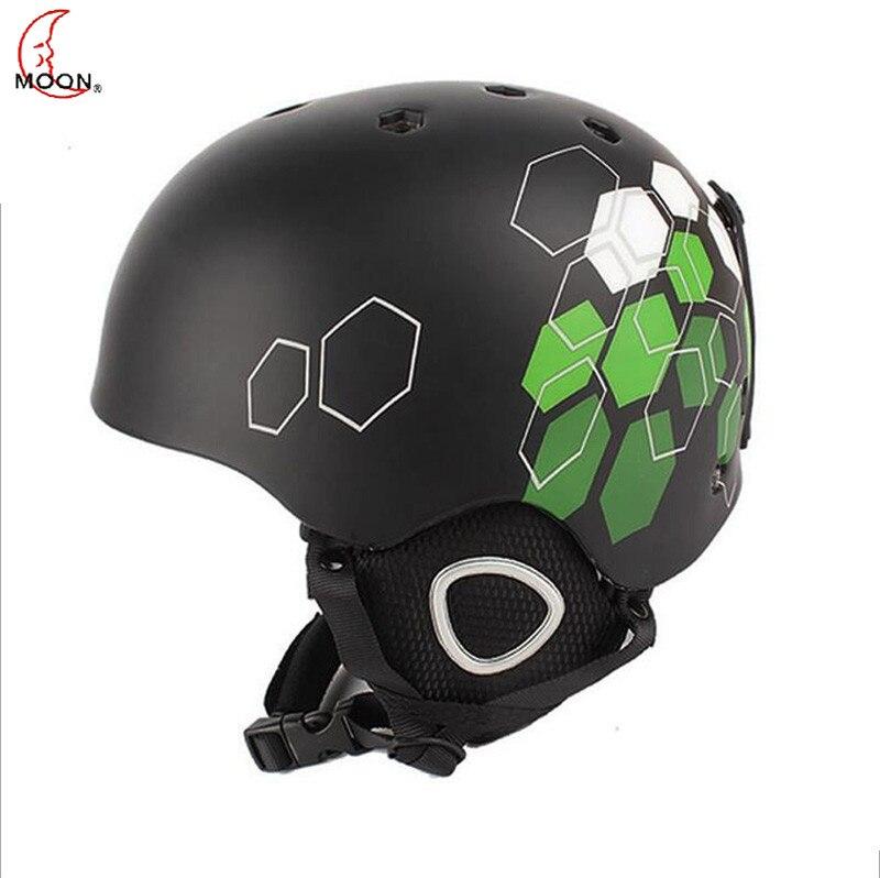 ФОТО MOON Ski Helmet Ultralight CE Certification Integrally-molded Breathable Skateboard Ski Snowboard Helmet Green Cycling Helmets