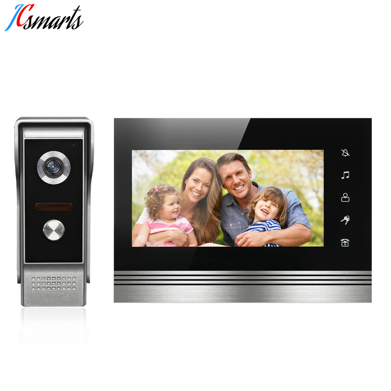 JCSMARTS Visual Intercom Doorbell 7'' TFT LCD Wired Video Door Phone System Indoor Monitor 700TVL IR camera for private houses homefong villa wired night visual color video door phone doorbell intercom system 4 inch tft lcd monitor 800tvl camera handfree
