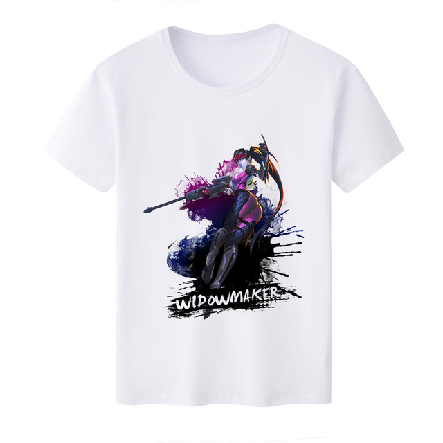 2018 Hot Game OW Widowmaker T-shirt  Cosplay Short Sleeve O-Neck T shirt Tee Anime Summer Top White Tees For Men/Woman