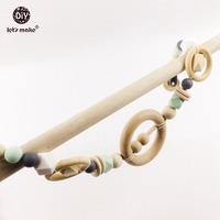 Wooden Pacifier Clip Teether Infant Food Grade BPA Free Teether Baby Play Gym Stroller Toy Wooden