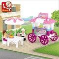 Meninas Favorito!! 78 pçs/set Pão DIY Blocos de Construção de Brinquedo Das Crianças Do Carro de Jantar Iluminação Puzzle Brinquedos Crianças Presentes