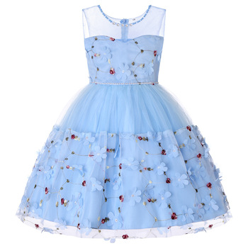 Dress Skirt Europe and America Autumn and Winter Sleeveless Flowers Christmas Big Girls Princess Dre